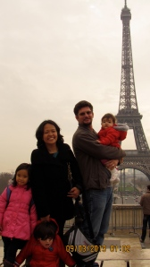 Posing by the Eiffel Tower